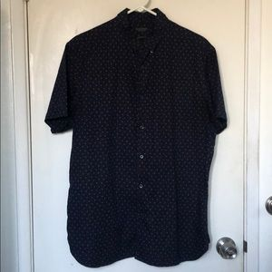 Blue shirt sleeves button down shirt